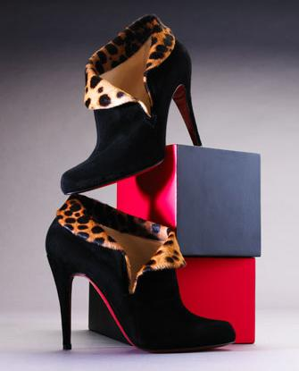 christian louboutin leapord bootie
