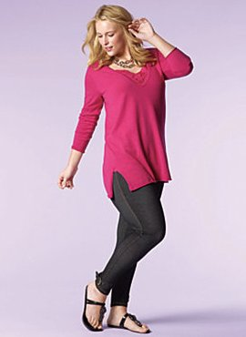 Deep-V Tunic Sweater, Cami, Straight Leg Jean
