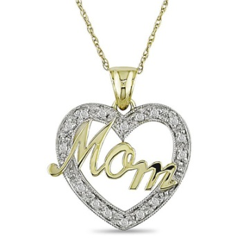 "Diamond ""Mom"" Heart Pendant"