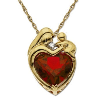 Heart-Shaped Lab-Created Ruby Pendant