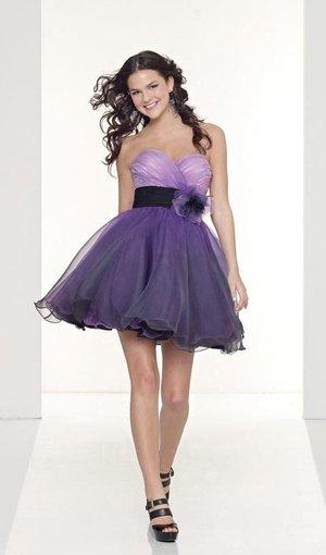 Strapless Short Purple Dress