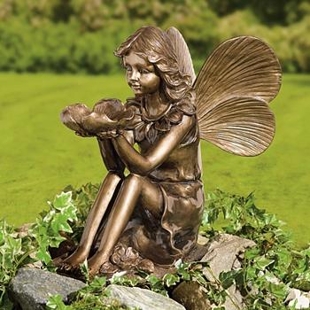 Bronze-Finish Sitting Fairy