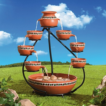 Double Cascading Solar Water Fountain