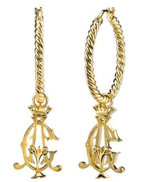 gold plated hoop plus drop earrings