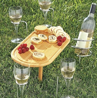 steady stick table and wine holders