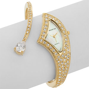 Croton Manhattan Deluxe Womens Crystal Cuff Watch