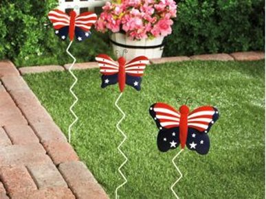 Patriotic Butterfly Yard Stakes