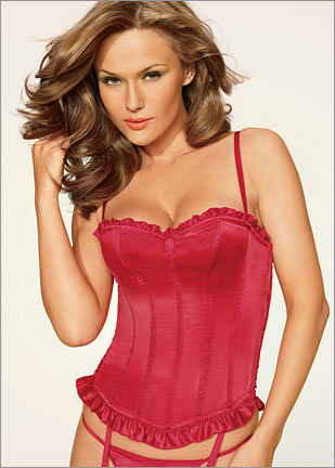 Ruffled Satin Push-Up Corset
