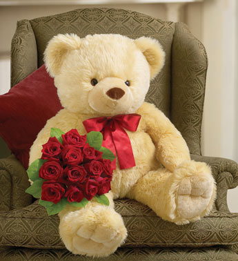 Big Bear with One Dozen Long Stem Red Roses
