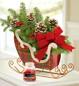 tartan plaid sleigh centerpiece
